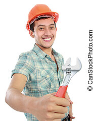 happy worker with tool