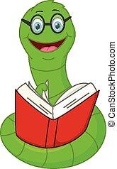 Happy worm cartoon reading book - Vector Illustration of...
