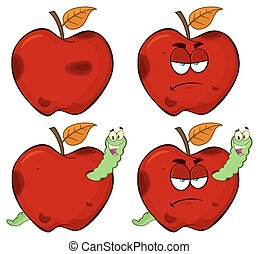Happy Worm In A Grumpy Rotten Red Apple Fruit Series Set 1. Collection
