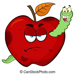Happy Worm In A Grumpy Rotten Red Apple Fruit Cartoon Mascot Characters