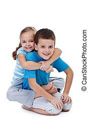 Happy wrestling kids