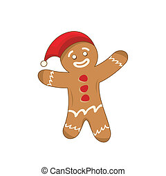 Happy xmas gingerbread man - Illustration of a happy xmas...