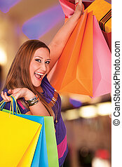 happy xxl shopping woman - Happy xxl female holds shopping ...