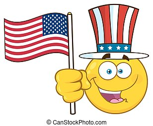 Happy Yellow Cartoon Emoji Face Character Wearing A Top Hat And Waving An American Flag
