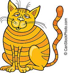 Happy Yellow Cat - Cartoon illustration of Happy Yellow Cat