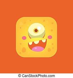 Happy Yellow Monster Emoji Icon