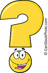 Happy Yellow Question Mark Cartoon Character