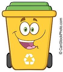 Happy Yellow Recycle Bin Cartoon Character