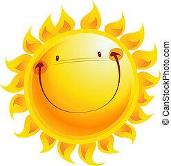 Happy yellow smiling sun cartoon character