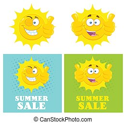 Happy Yellow Sun Cartoon Emoji Face Character Giving Thumbs Up. Flat Design