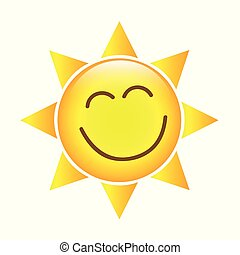 happy yellow sun face icon isolated on a white background