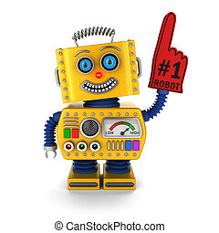 Happy yellow toy robot