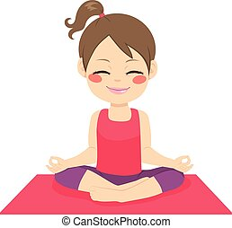 Happy Yoga Girl - Cute little happy girl doing zen position...