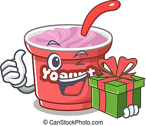Happy yogurt character having a gift box