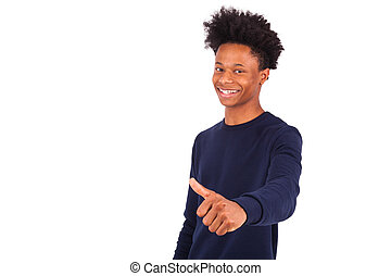 Happy young african american man making thumbs up gesture isolated on white background - Black people