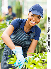 young african american nursery worker gardening