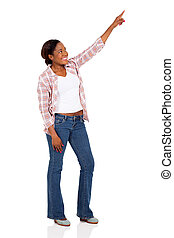 young african american woman pointing
