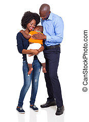 happy young african family full length portrait isolated on...
