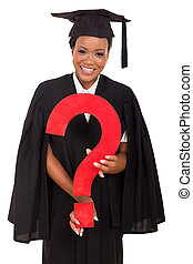 young african female graduate with question mark