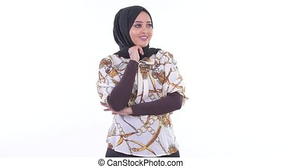 Happy young African Muslim woman thinking - Studio shot of...