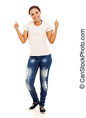 young african woman showing thumbs up