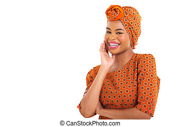 happy young african woman with headscarf on white background
