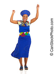 young african zulu woman dancing
