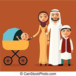 Happy young Arab family with a newborn. Muslim parents with two children.
