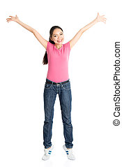 Happy young Asian female arms raised