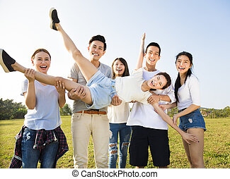 happy young asian group having fun together