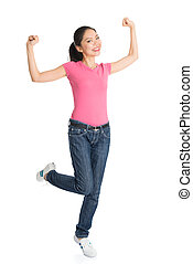 Happy young Asian woman arms raised