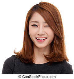 Happy young Asian woman close up shot. - Happy young Asian...