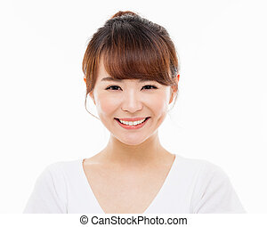 Happy young Asian woman close up shot isolated on white...