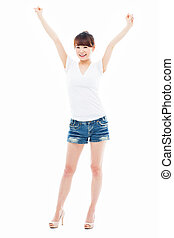 Happy young Asian woman hands up