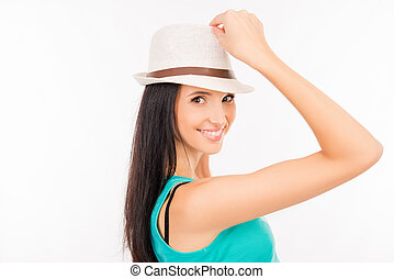 Happy young asian woman smiling with hat
