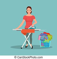 Happy young attractive woman ironing clothes