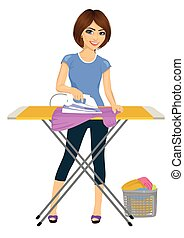 Happy young attractive woman ironing clothes. Housework -...