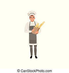 Happy young baker character holding traditional french baguettes in paper bag vector Illustration isolated on a white background