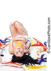 woman painted with vivid colors