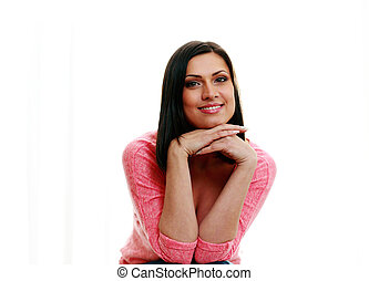 Happy young beautiful woman isolated on a white background