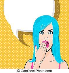 Happy young blue hair girl pop art halftone