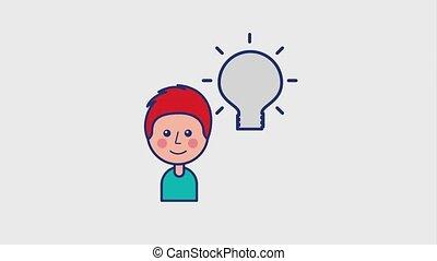 happy young boy and bulb idea creativity animation hd