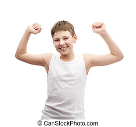 Happy young boy in a sleeveless shirt