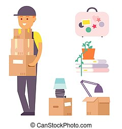 Happy young boy vector flat people moving in new house movement apartment together. Happy young man moving service. Woman carrying boxes together with family person unpacking box character set