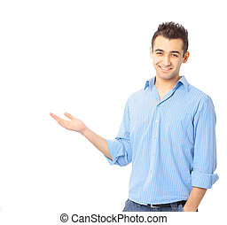 Happy young business man presenting over a white background