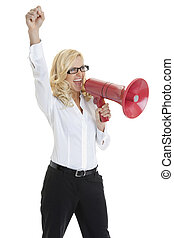 Happy young business woman making an announcement into megaphone on white background