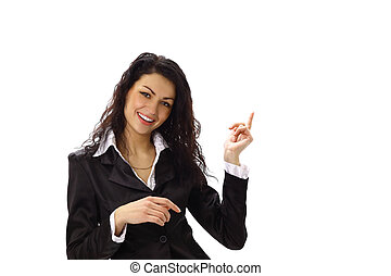 happy young business woman pointing