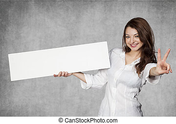 Happy young business woman with copy space
