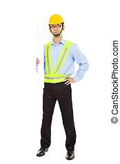Happy young businessman architect holding  blueprints