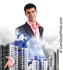 Happy young businessman greeting